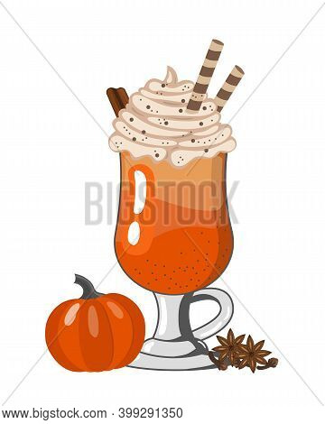 Pumpkin Spiced Latte Or Coffee In Glass. Autumn Or Winter Hot Drink On On White Background. Vector I