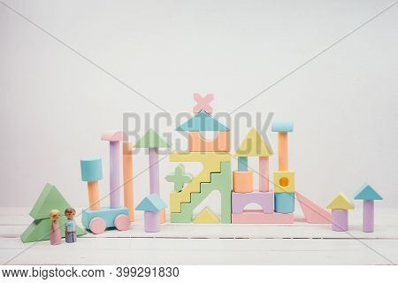 Childrens Toys Made Of Natural Material. Wooden Colorful Constructor For Children. Colourful Toys Ma