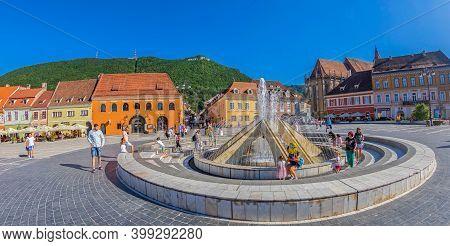 Brasov, Romania - July 11, 2020: The Council Square Located In The Historic Centre Of The City, Docu