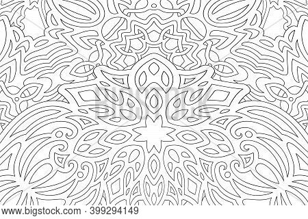 Beautiful Illustration For Adult Coloring Book With Isolated On The White Background Black Rectangle