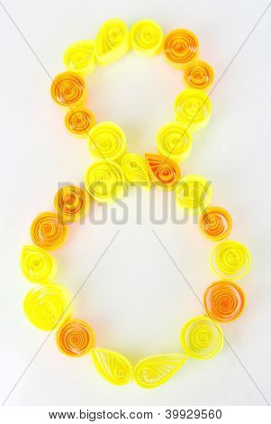The digit 8 is made of quilling isolated on white poster