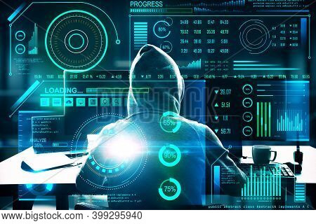 Hacker Using Computer With Software Interface And  Big Data Hologram. Hacking And Cyber Attack Conce