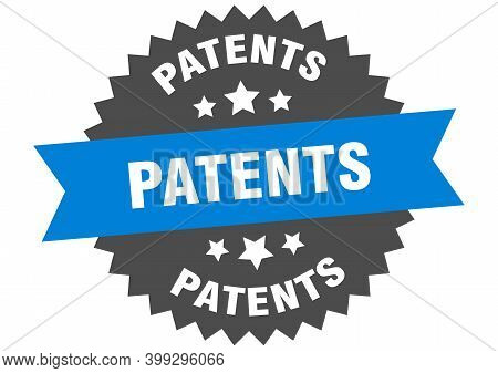 Patents Round Isolated Ribbon Label. Patents Sign