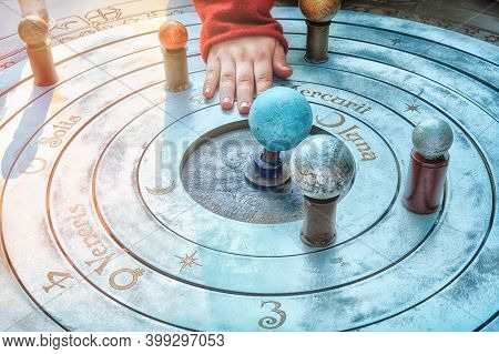 Model Of Geocentric Solar System. The Ancient Idea Of The Rotation Of The Planets, The Moon And The