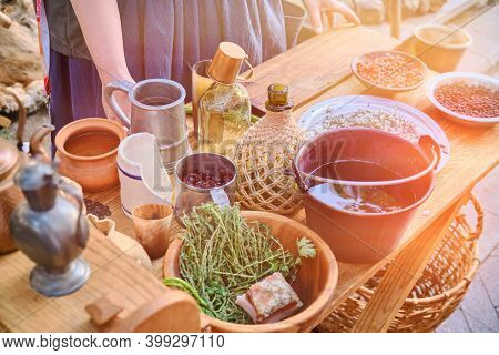 Table Of Food Of The Settlers In America Of 17-18 Century. Historical Reconstruction Of The Life Of