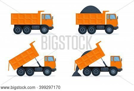 Set Of Orange Dump Trucks With Closed And Open Body. Vector Illustration On White Background.