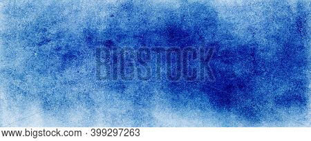 Blue Watercolor Background Texture, Abstract Painted White Clouds With Pastel Blue Border Grunge