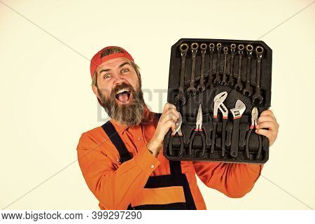 Worker Repairer Repairman Handyman Carrying Toolbox. Really Good Tools. Mechanic Tool Box. Man In Un