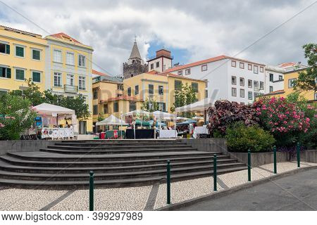 Funchal At Madeira, Portugal - August 01, 2014: Small Square With Some Restaurants Downtown Funchal