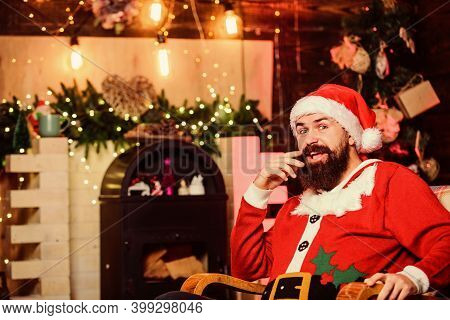 Best Time. Merry Christmas. Man Santa Hat. New Year Gifts. Christmas Decoration. Winter Holidays. Wa