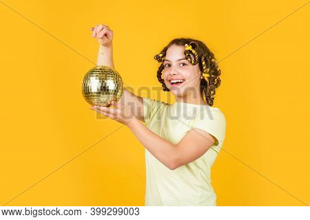 Night Club. Hairdresser Salon. Child Hold Golden Disco Ball. Retro Party. Cheerful Girl With Disco B