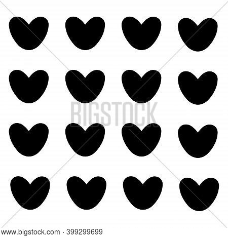 Postcard With Black Hearts. Happy Valentine Day. Vector Isolated Illustration.
