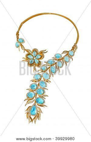 Golden Necklace With Topazes And Diamonds