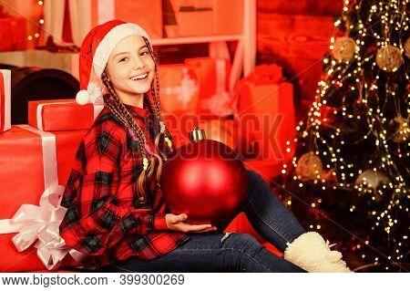 Spread Love. Winter Holiday. Christmas Concept. Child Fancy Santa Enjoy Celebration New Year. Small