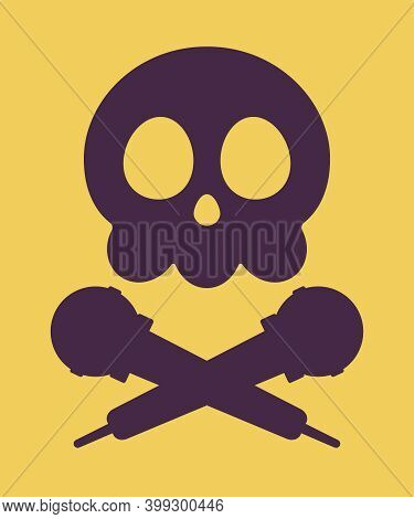 Music Piracy Icon, Skull And Microphone Cross. Recordings And Content Illegal Download, Concert Sing