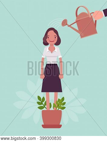 Growing Female Talent, Business, Personal Development. Helping Woman Grow In Plant Pot, Watering To