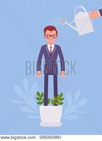 Growing Male Talent, Business And Personal Development. Helping Man Grow In Plant Pot, Watering To S