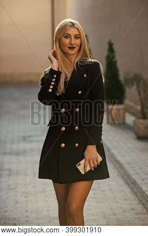 Blonde Fashion Blogger. Elegant Woman In Jacket Dress. Glamour Fashion Look. Sexy Businesswoman Outd