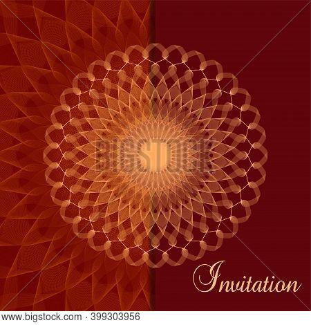 Golden Openwork Pattern On A Dark Red Background. Luxurious Invitation Design. Vector Abstract Line