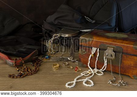 Tools Used And The Loot And Jewels Stolen By A Thief During A Burglary.