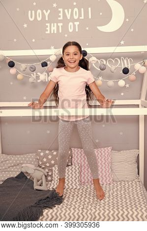 Child In Pajamas. Happy Morning. Coziest Place On The Planet Is My Bedroom. Cute Cozy Bedroom For Sm