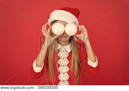 I Spy. Happy Child Hold Snowballs As Glasses. Little Girl Enjoy Christmas Eve Party. New Year Party.