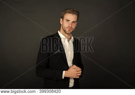 Confident In His Career. Confident Businessman Dark Background. Confident Look Of Fashion Man. Forma
