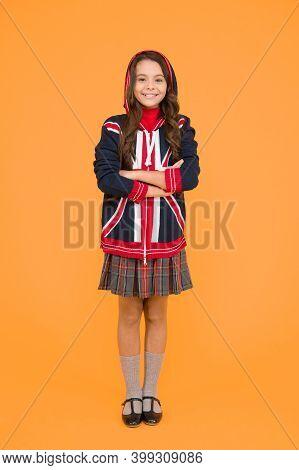 English Lesson. Union Jack Flag. Small Girl Uniform. Kid With English Flag On Jacket. Go Study To En