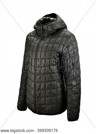 Black puffer jacket on invisible mannequin isolated on white background