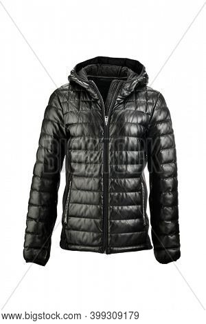 Black leather puffer jacket on ghost mannequin isolated on white background