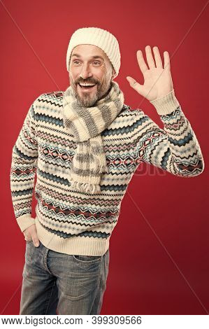 For Casual Lifestyle. Handsome Man Wear Casual Style. Mature Man In Casual Clothing Red Background.