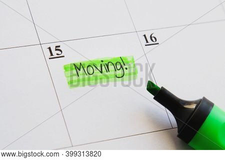 Planner Calendar Stamp With Moving Caption Highlighted In Green Marker