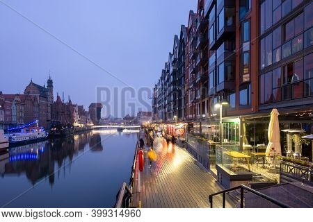 Gdansk, Poland - December 12, 2020: The Riverside Promenade In The Center Of The Old Town In Gdansk