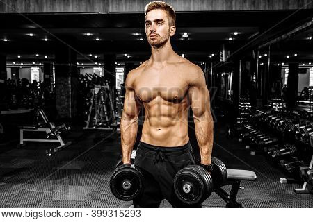 Muscular Man Exercising In The Gym Doing Triceps Exercises, Strong Man Torso Abs
