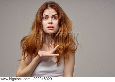Woman With Loose Hair Acne On Her Face Acne Gesturing With Her Hands
