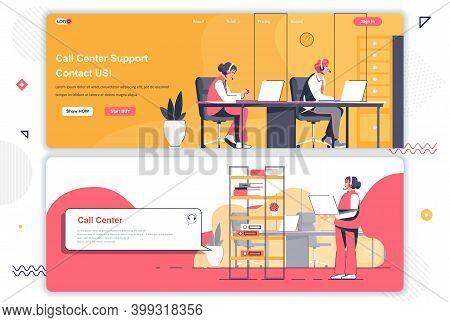 Call Center Landing Pages Set. Online Hotline, Customer Assistance Service Corporate Website. Flat V