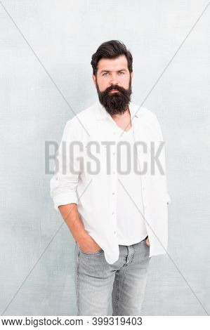 Male Temper Brutality. Brutal Macho Casual Outfit Gray Background. Simple And Casual. Masculinity Co