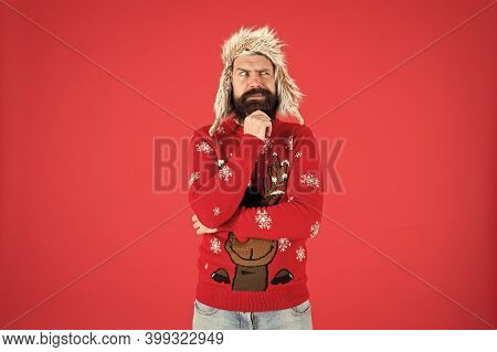 Beard Keeps Him Warm In Winter. Hipster Touch Beard Hair In Festive Style. Bearded Man With Stylish