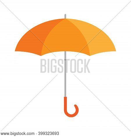 Orange Umbrella Isolated On White, 3d Vector Illustration