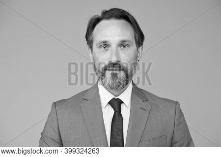 Skincare Routine For Mature Skin. Aged Man With Unshaven Skin. Bearded Man In Formal Style. Skincare