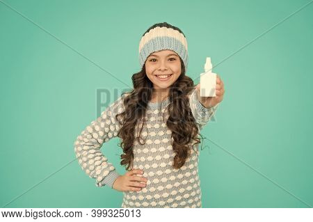 Runny Nose Remedies. Girl Hold Nasal Drops. Allergy Concept. Home Treatment. Nasal Drops Plastic Bot