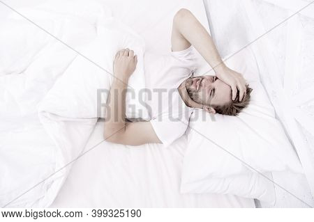 Limit Activities In Bed. Guy Had Sleepless Night. Male Health Concept. Peacefulness Concept. Tired M