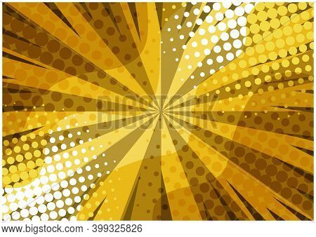 Abstract Yellow Striped Retro Comic Background With Halftone Corners And Wavy Shapes. Cartoon Orange