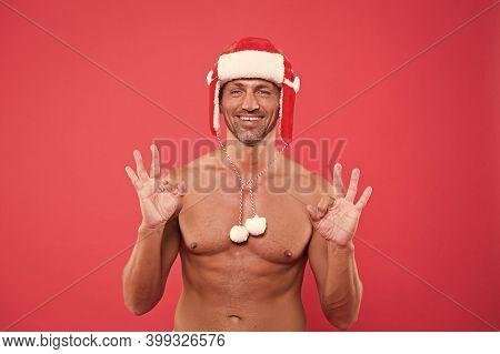 Handsome Santa Feel Warm And Hot. Christmas Temptation. Best Christmas Present. Sexy Santa. Muscular