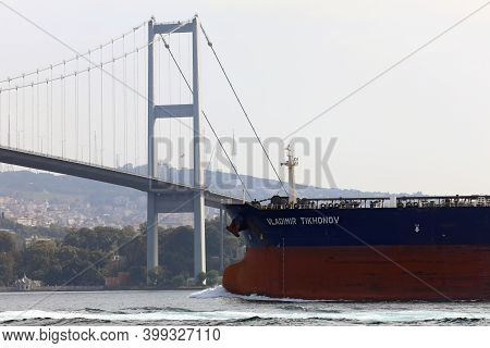 Istanbul, Turkey - October 06, 2020. Crude Oil Tanker Sailing In Front Of The Bosphorus Bridge In Th