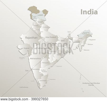 India Map, Administrative Division, Separate Regions With Names Of Individual Regions, New Map Of Di