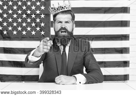 Prove His Case. Patriotic Spirit. Selfish Male In Suit Wear Crown. Victory And Freedom. Fourth Of Ju