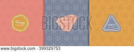 Vector Seamless Patterns Set With Modern Minimal Labels. Luxury Linear Backgrounds With Thin Lines,