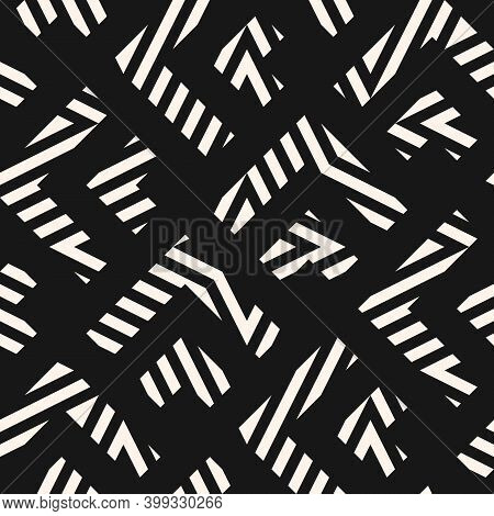 Vector Geometric Lines Pattern. Abstract Black And White Seamless Texture. Modern Monochrome Geometr