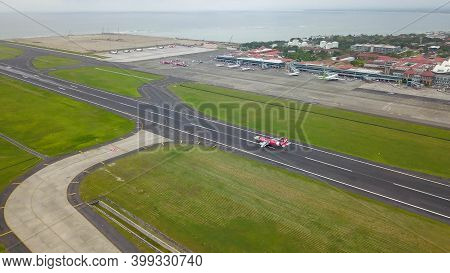 Bali, Indonesia, December 4, 2020. Aerial View Of Airplanes At The Airport Runway. Indonesian Budget